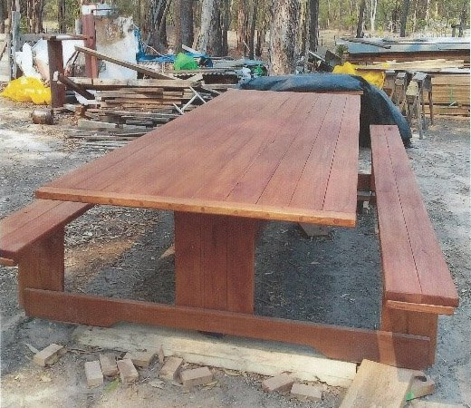 Large Picnic Table with Fixed Seats